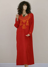 Embroidered Long Kaftan Dress - in 3 dazzling colours and 4 sizes