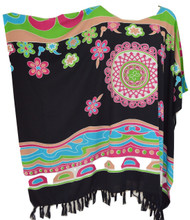 Vibrant Abstract Design Kaftan Top Freesize