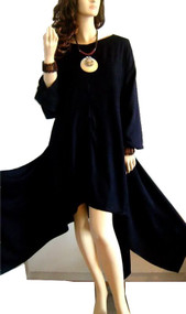Plain Black Pixie Style Buttersoft Top - Freesize