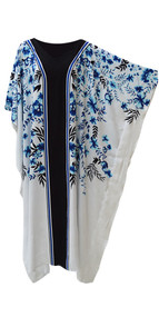 ARWEN White Blue Black Floral Kaftan Caftan Cool Soft Long Ladies Dress Plus Cover Up Beach