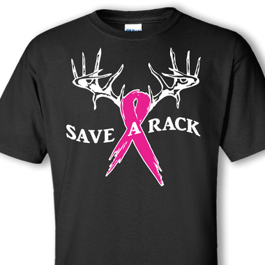 Save a rack breast cancer awareness funny custom t shirt for Small quantity custom t shirts