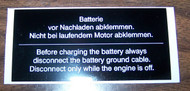 BMW 2002 Battery Warning Sticker 1968-1976