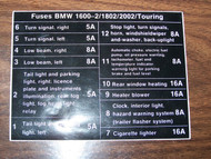 BMW 2002 12 Fuses Sticker English 1967-1973