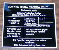 BMW 1600ti 2002 2002ti Tire Pressure Sticker