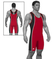 Red - Black Curved Side Panel Adidas aS107s Lycra Stock Singlet