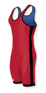 Red - Royal - Black Side Stripe Adidas aS103r Reversible Lycra Stock Singlet
