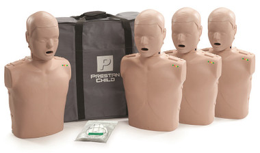 Prestan Professional Training Manikins Child with CPR Monitor inc 50 Lung Bags (Pk 4)