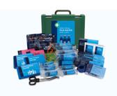 BS8599-1 Medium Catering First Aid Kit in Green Oxford Box - inc bracket open