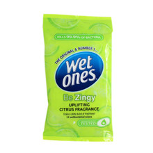 Wet Ones Be Zingy Uplifting Travel Wipes 12s