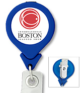 #302 - Custom Printed Tear Drop Shaped Retractable Badge Reel with PVC Strap and Swivel Clip