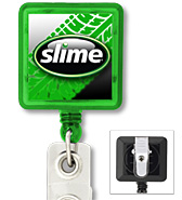 #303 - Custom Printed Square Retractable Badge Reel with PVC Strap and Swivel Clip