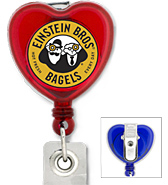 #305 - Custom Printed Heart Shaped Retractable Badge Reel with PVC Strap and Swivel Clip