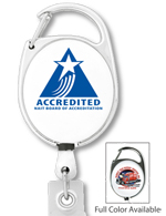 #306 - Custom Printed Carabiner Style Retractable Badge Reel with PVC Strap