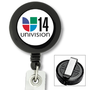 #425 - Custom Printed Round Retractable Badge Reels with PVC Strap and Sliding Belt Clip