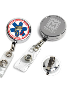 Custom Chrome Metal Badge Reel with PVC Strap