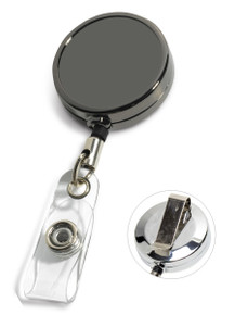 Blank Gunmetal Badge Reel w/ PVC Strap & Belt Clip