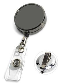 Blank Gunmetal Badge Reel w/ PVC Strap & Belt Clip