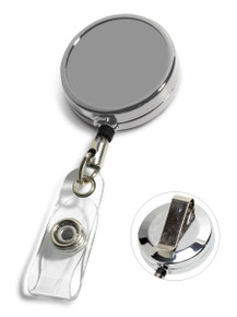 Blank Chrome Metal Badge Reel w/ PVC Strap & Belt Clip