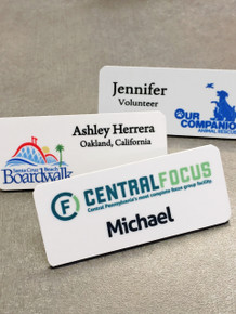 "Full Color Plastic Name Tags w/ Personalization (1-1/4""x3"")"