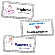 "Rhinestone Metal Name Tags w/ Personalization (1.5""x3"")"
