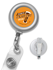 Custom Matte Metal Badge Reel with Non-Swivel Alligator Clip