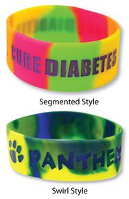 """1"""" Multi-Color Custom Silicone Wristbands"""