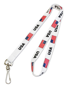 Pre-Printed USA FLAG Lanyards w/ Swivel Hook