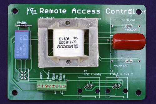 Remote Access Controller/Universal Transformer Board equipped with Midcom transformer. This transformer can terminate (hold a phone line off hook) and couple to a dispatcher's train line, such as an EBF31A