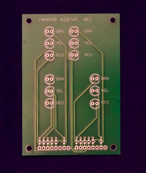 Top side of Remote Signal Repeater Board.  The small pads above the headers pins are for 0805 limiting resistors.
