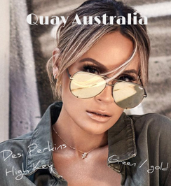 QuayAustralia sunnies are beyond famous in the celebrity world!  Stop the show and keep it HIGH KEY. Designed in collaboration with Desi Perkins, this worldwide fan fave has turned the classic aviator on its head. Featuring an oversized metal frame with unforgettably chic flat reflective lenses, each color of HIGH KEY is a wardrobe essential. From glam gold and casual blue to classic black and sleek black fade, you simply can't go wrong. And now, the HIGH KEY portfolio features two new gorgeous statement making colours — gunmetal/rose and army green/luxury gold. Shown here are the brand new and very LIMITED Green and gold! Army green khaki's come to mind with these!  All HIGH KEY frames include a limited edition #QUAYXDESI clear case and cleaning cloth. Get 'em before they're gone.