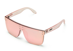 Stay hidden, but keep 'em staring with the ultimate boss babe sunnies. HIDDEN HILLS' By Kylie Jenner- oversized shield frames are perfect for hiding your eyes but guaranteeing that all eyes are on you. These sunnies feature reflective pink or a non-reflective black lenses with contrasting metal studs and plastic arms for an endlessly chic look.   Includes a new premium case with luxury gold hardware & keychain loop.