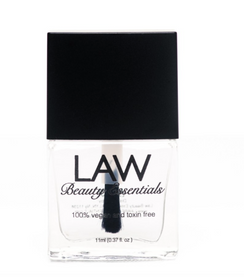 LAW All Vegan toxin free nail polish in ALMOST GEL TOP COAT! This Almost Gel Top Coat protects all shades of Law Beauty Essentials polishes from chipping, cracking or peeling.