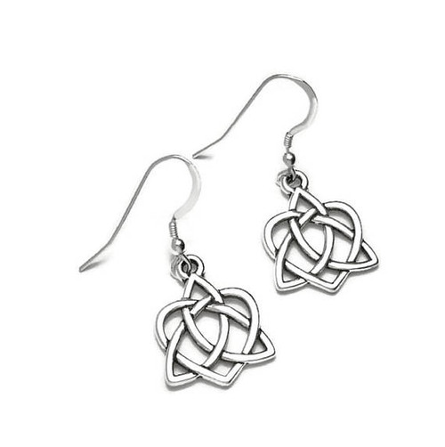 Celtic Trinity Knot Heart Dangle Earrings