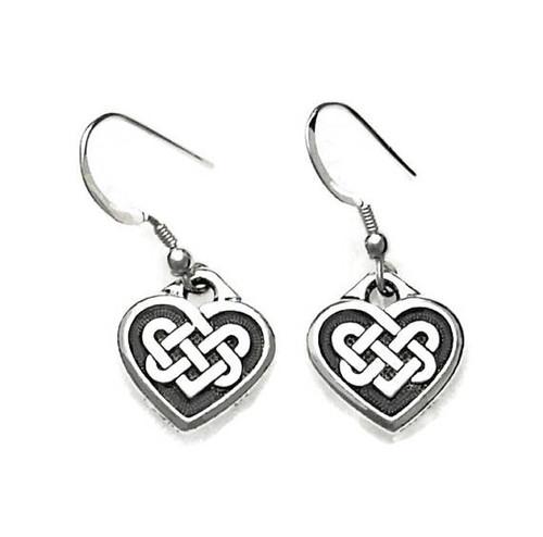 Celtic Love Knot Hearts Dangle Earrings