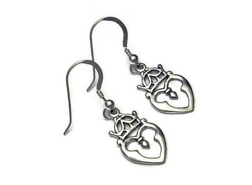 Scottish Luckenbooth Single Heart Earrings