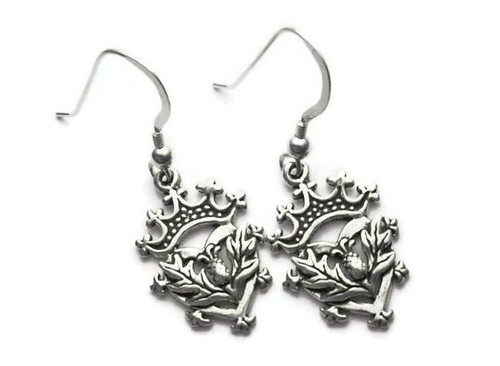 Scottish Luckenbooth Thistle Heart Earrings