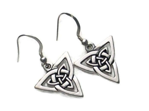 Celtic Knotwork Triangle Trinity Dangle Earrings