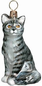 American Short Hair Gray Cat - Joy To The World Ornament