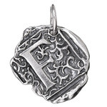 Waxing Poetic Sterling Silver Square Insignia Charm 'F'