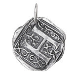 Waxing Poetic Sterling Silver Square Insignia Charm 'H'