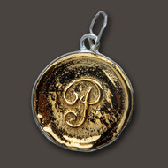 Waxing Poetic Brass Charm Round 'S' Insignia