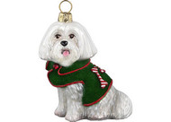 DIVA DOG Maltese with Green Velvet Coat - Joy To The World Ornament