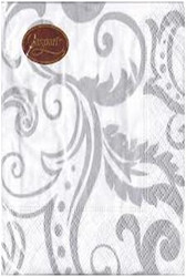 Caspari Silver Filigree Guest Towels 15 Count