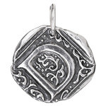 Waxing Poetic Sterling Silver Square Insignia Charm 'D'