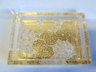 Fringe Studios Lavender Mums Glass Soap Tray
