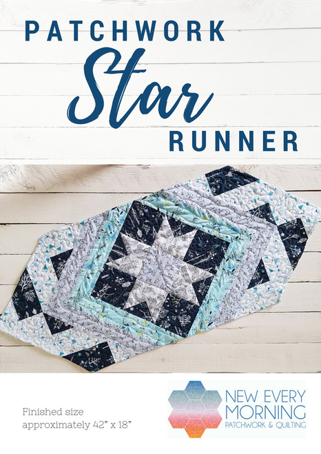 Star runner printed quilt pattern by New Every Morning Patchwork and Quilting. Available at Purple Stitches in UK