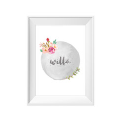 Personalised floral water colour