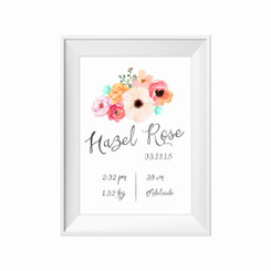 Floral posie birth print