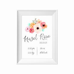 Floral posie birth print