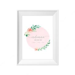 Pink Bloom Birth Print